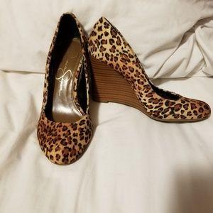 Jessica Simpson leopard print wedges